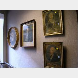 Four Framed George and Martha Washington Portrait Prints.
