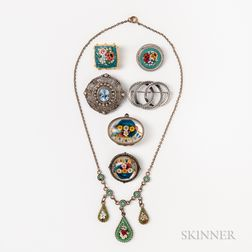 Group of Silver Floral Jewelry and a Glass Box