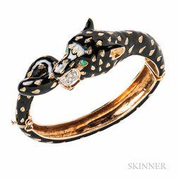 18kt Gold and Enamel Leopard Bracelet