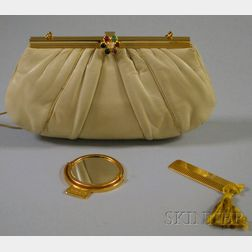 Judith Leiber Taupe Leather Clutch