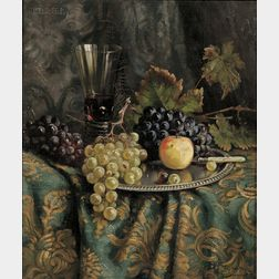 Willy Hanft (German, 1888-1987)      Still Life with Fruit and Wine