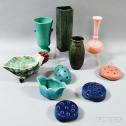 Three Weller Flower Frogs, Two Van Briggle Pieces, and Five Other Art Pottery and Glass Items