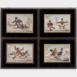 James Gillray (British, 1757-1815)      Elements of Skateing  /A Set of Four Framed Prints