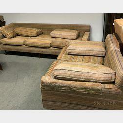 Mid-Century Modern Custom Upholstered Sofa and Loveseat