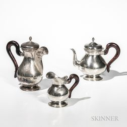 Three-piece Italian .800 Hand-hammered Silver Tea Set