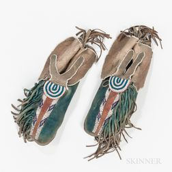 Kiowa Beaded Hide Man's Moccasins