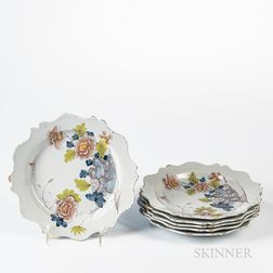 Six Polychrome Decorated Tin-glazed Earthenware Plates