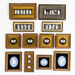 Fourteen Framed Wedgwood Plaques and Medallions