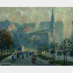 Arthur Clifton Goodwin (American, 1866-1929)      Boston Common and Park Street Church