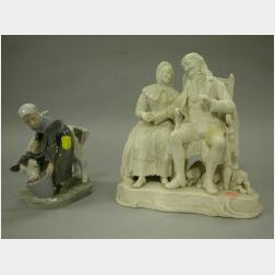 Parian John Anderson My Jo Figural Group and a Royal Copenhagen Porcelain Milk Maid with Cow.