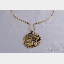 Abstract Brass Pendant Necklace, David Yurman