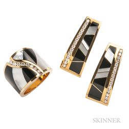 18kt Gold, Onyx, Mother-of-pearl, and Diamond Earrings and Ring