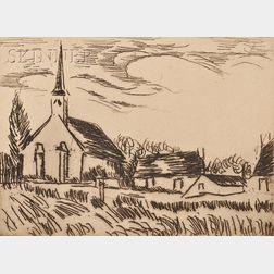 Maurice de Vlaminck (French, 1876-1958)      Une église dans le Vexin