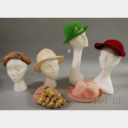 Six Vintage Wool and Felt Hats