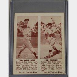 1941 Double Play No. 81/82 Ted Williams/Joe Cronin Baseball Card.
