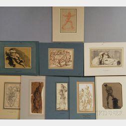 Nine Unsigned Figure Drawings:      Italian School, 17th/18th Century, Standing Man in Uniform