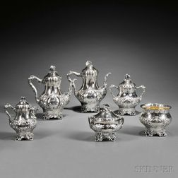 Six-piece Kidney, Cann & Johnson Coin Silver Tea and Coffee Service