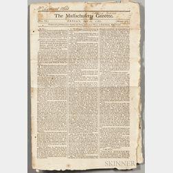 The Massachusetts Gazette  , April 1787, Three Issues.