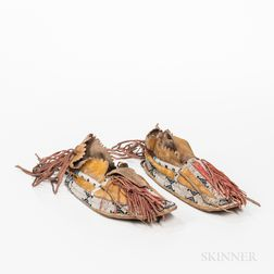 Southern Cheyenne Beaded Hide Man's Moccasins