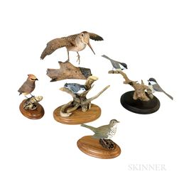 Five Carved and Painted Wood Birds