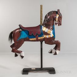 "Carved and Painted ""Outside Jumper"" Carousel Horse"