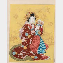 Paul Jacoulet (1902-1960), Daikoku, Dieu de la Richesse, Personnifie par une Courtisane du Shimabara, Kyoto