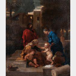 Sébastien Bourdon (French 1616-1671)      Holy Family with Saint Elizabeth