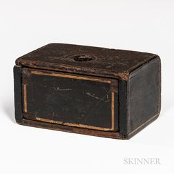 Small Black-painted Box with Drawer