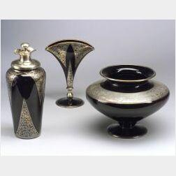 Three Art Deco Silver Overlay Glass Items