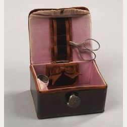 Leather Covered Traveling Sewing Case