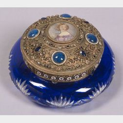 Cobalt Blue Cased Cut to Clear Glass Dresser Box with Gilt Metal Stone and Miniature   Mounted Cover