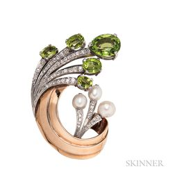 14kt Gold, Platinum, Peridot, and Diamond Clip Brooch