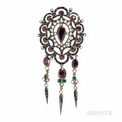 Antique Garnet and Enamel Brooch
