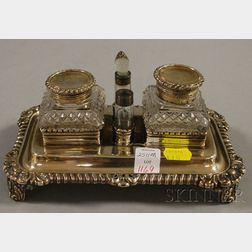 English Sterling Silver and Colorless Cut Glass Inkstand