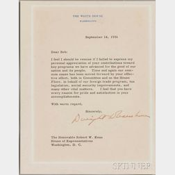 Eisenhower, Dwight D. (1890-1969) Typed Letter Signed, 14 September 1956.