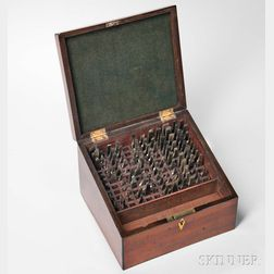 Rose Engine Hardened Steel Cutting Tools in Lidded Mahogany Box