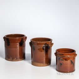 Three Manganese-decorated Straight-sided Redware Crocks