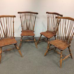 Set of Four Braced Fan-back Windsor Side Chairs
