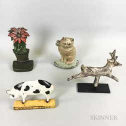 Three Polychrome Cast Iron Doorstops and a Deer-form Gallery Target