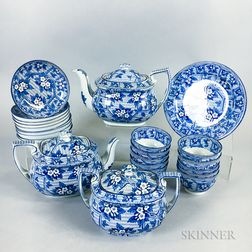 Twenty-four-piece Set of Staffordshire Transfer-decorated Teaware