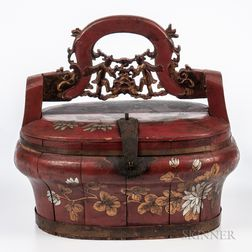 Red-lacquered Wood Bridal Box