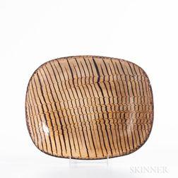 Rectangular Staffordshire Combed Slip-decorated Earthenware Dish