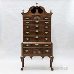 Chippendale-style Carved Mahogany Bonnet-top High Chest
