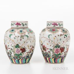Pair Enameled Jars and Covers