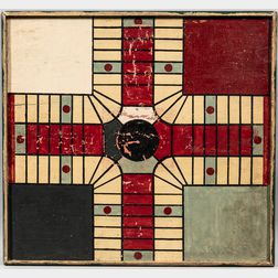 Painted Double-sided Parcheesi/Checkers Game Board