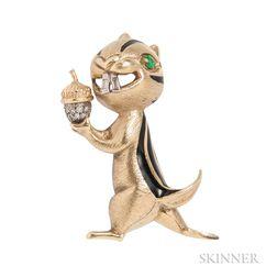 Whimsical 18kt Gold and Enamel Chipmunk Brooch
