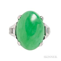 Platinum, Jadeite Jade, and Diamond Ring