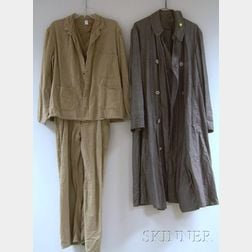 Two Early 20th Century Cotton Auto Coats with Stone Buttons and a Two-piece Cotton   Worker's Outfit