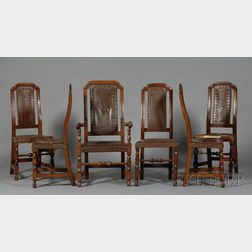 Set of Six Maple Leather Chairs