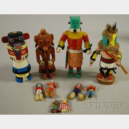 Four Kachinas and Six Small Beaded Dolls
